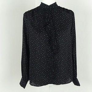NWT Black Button Front Blouse